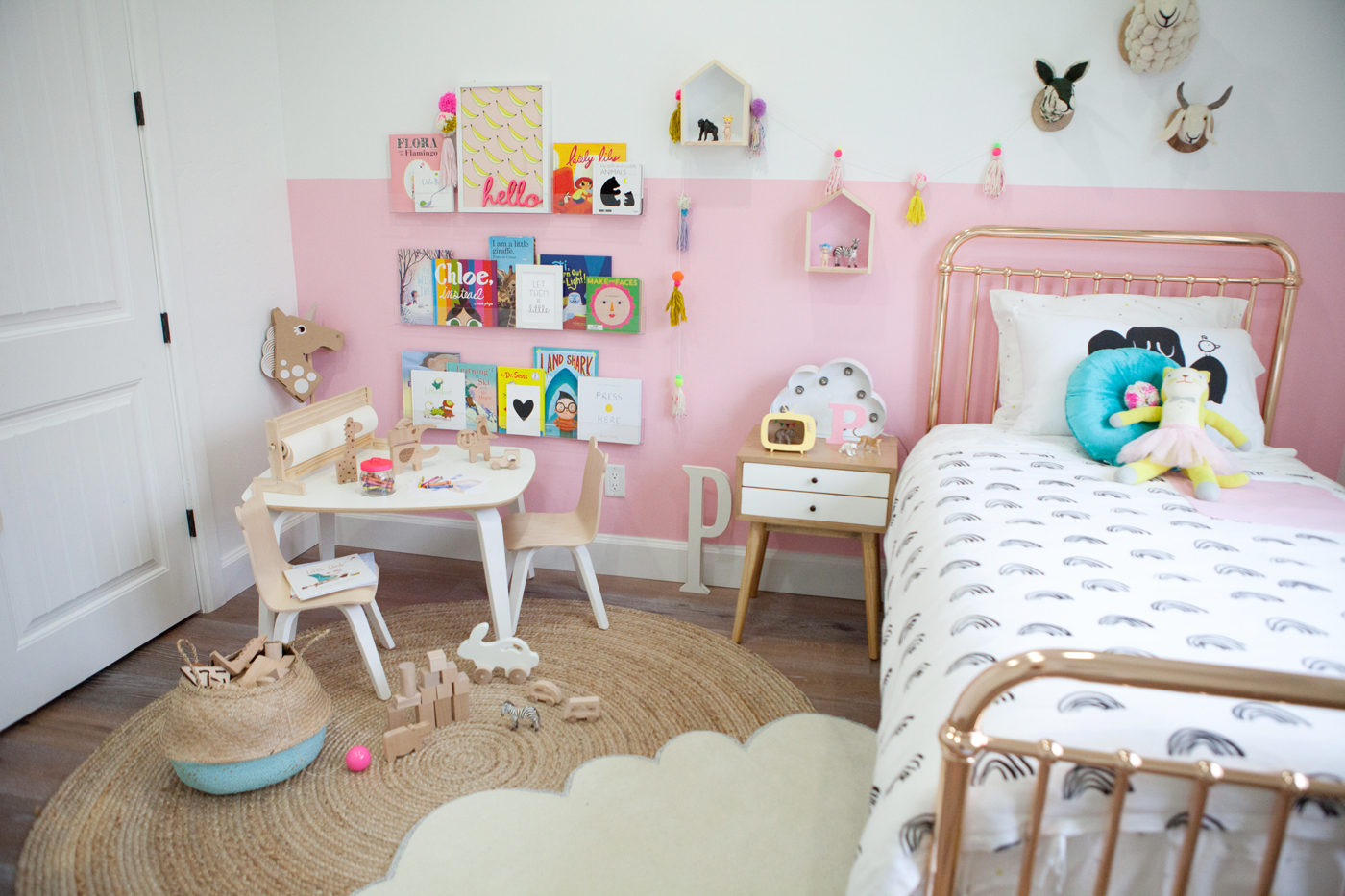 little girls color block pink room reveal