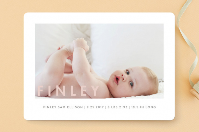 on trend birth announcements with Minted