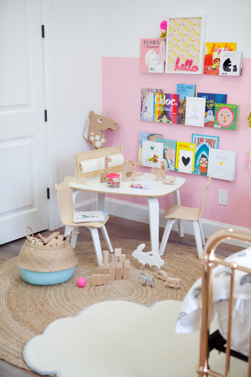 little girls color block pink room reveal